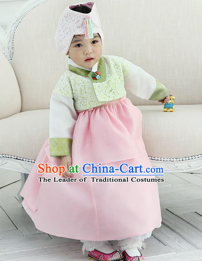 Korean National Handmade Formal Occasions Girls Clothing Palace Hanbok Costume Embroidered Green Lace Blouse and Pink Dress for Kids