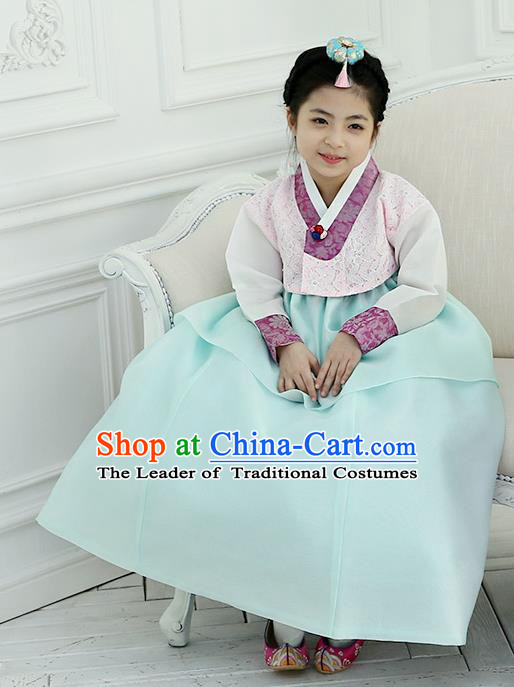Korean National Handmade Formal Occasions Girls Clothing Palace Hanbok Costume Embroidered Pink Lace Blouse and Green Dress for Kids