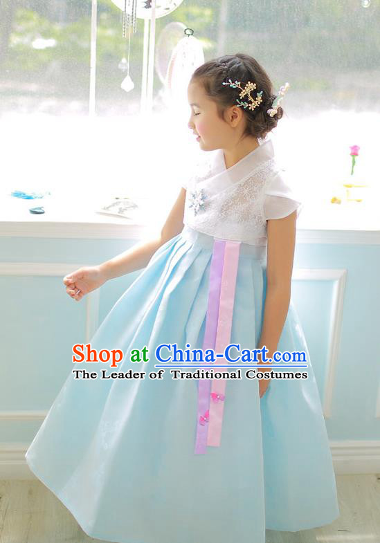 Korean National Handmade Formal Occasions Girls Clothing Palace Hanbok Costume Embroidered White Lace Blouse and Blue Dress for Kids