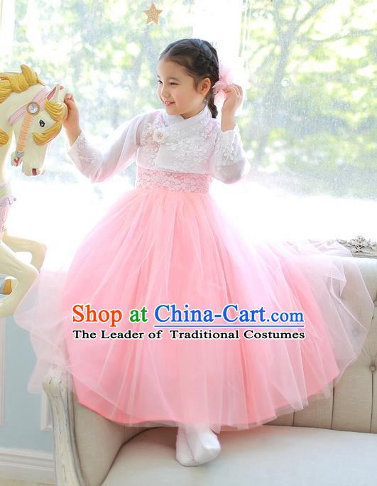 Korean National Handmade Formal Occasions Girls Clothing Palace Hanbok Costume Embroidered White Lace Blouse and Pink Dress for Kids
