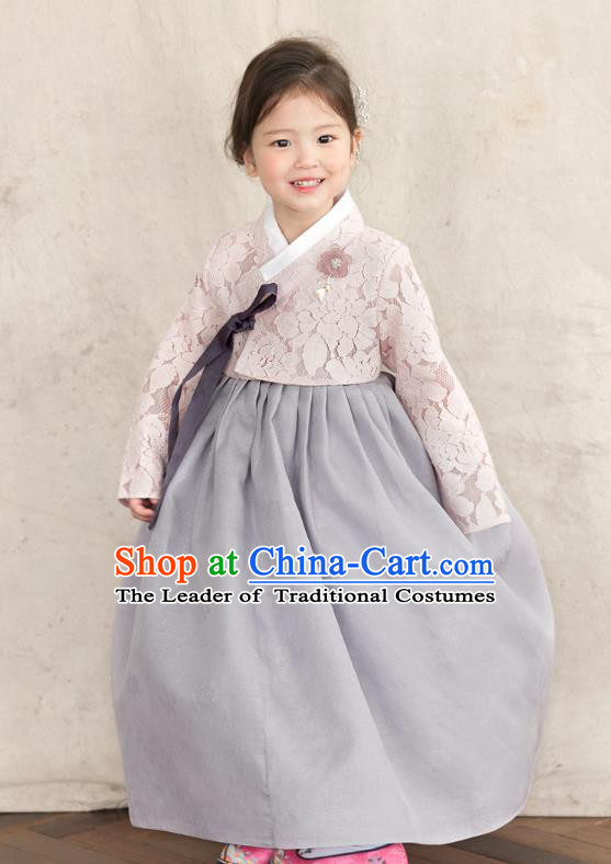 Korean National Handmade Formal Occasions Girls Clothing Palace Hanbok Costume Embroidered Pink Blouse and Grey Dress for Kids