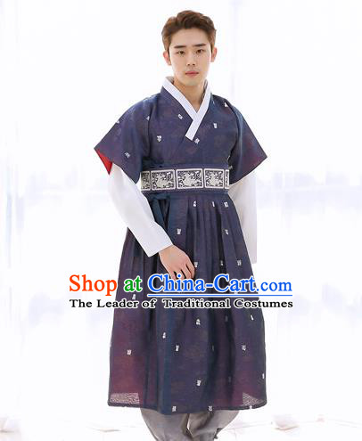 Asian Korean National Traditional Formal Occasions Wedding Bridegroom Embroidery Navy Vest Hanbok Costume Complete Set for Men