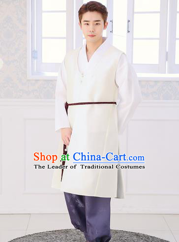 Asian Korean National Traditional Formal Occasions Wedding Bridegroom Embroidery White Vest Hanbok Costume Complete Set for Men