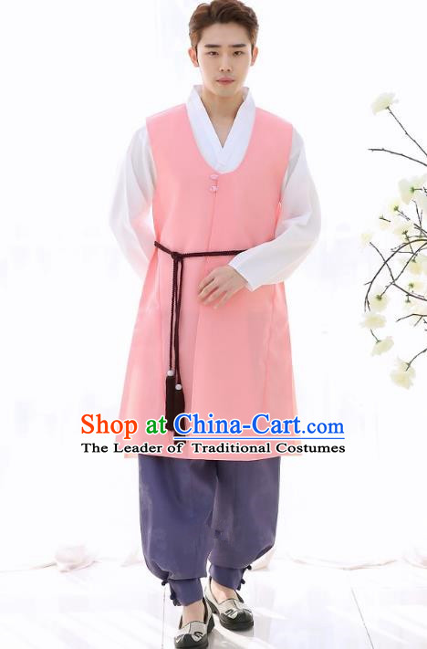 Asian Korean National Traditional Formal Occasions Wedding Bridegroom Embroidery Pink Long Vest Hanbok Costume Complete Set for Men