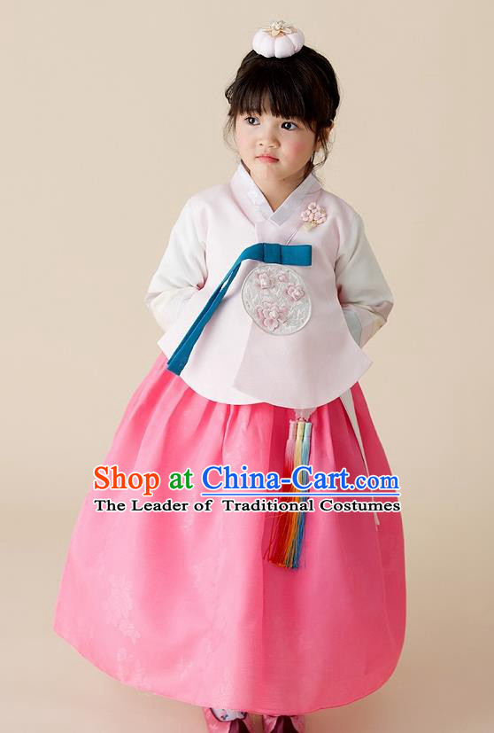 Korean National Handmade Formal Occasions Girls Clothing Palace Hanbok Costume Embroidered Pink Blouse and Dress for Kids