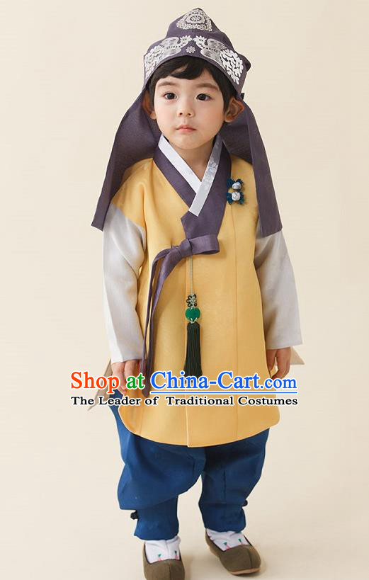 Asian Korean National Traditional Handmade Formal Occasions Boys Embroidery Yellow Vest Hanbok Costume Complete Set for Kids