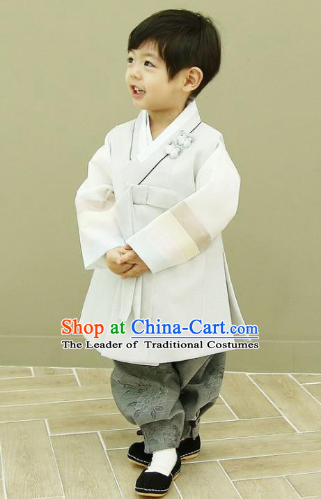 Asian Korean National Traditional Handmade Formal Occasions Boys Embroidery White Vest Hanbok Costume Complete Set for Kids