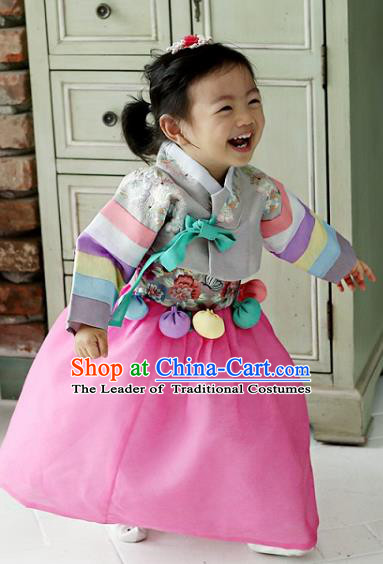 Korean National Handmade Formal Occasions Girls Clothing Palace Hanbok Costume Embroidered Grey Lace Blouse and Pink Dress for Kids