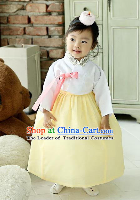 Korean National Handmade Formal Occasions Girls Clothing Palace Hanbok Costume Embroidered White Blouse and Yellow Dress for Kids