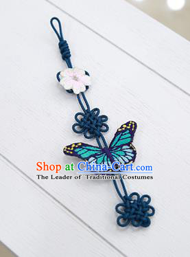 Asian Korean Hanbok Embroidered Butterfly Waist Decorations, Korean National Belts Accessories Wedding Bride Waist Pendant for Kids