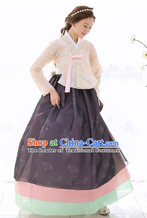 Top Grade Korean National Handmade Wedding Clothing Palace Bride Hanbok Costume Embroidered Beige Blouse and Black Dress for Women