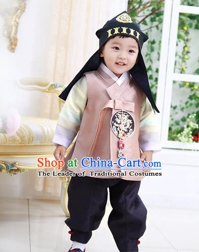 Asian Korean National Traditional Handmade Formal Occasions Boys Embroidery Pink Vest Hanbok Costume Complete Set for Kids