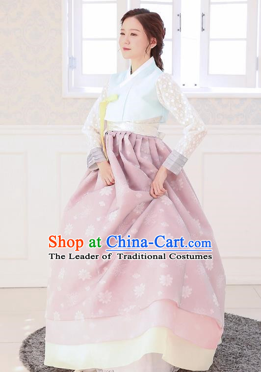 Top Grade Korean National Handmade Wedding Clothing Palace Bride Hanbok Costume Embroidered Blue Blouse and Purple Dress for Women