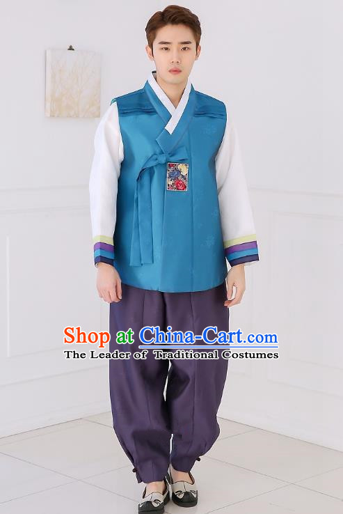 Asian Korean National Traditional Formal Occasions Wedding Bridegroom Embroidery Blue Vest Hanbok Costume Complete Set for Men