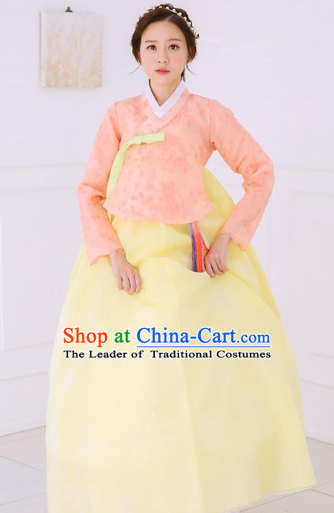 Top Grade Korean National Handmade Wedding Clothing Palace Bride Hanbok Costume Embroidered Orange Blouse and Yellow Dress for Women