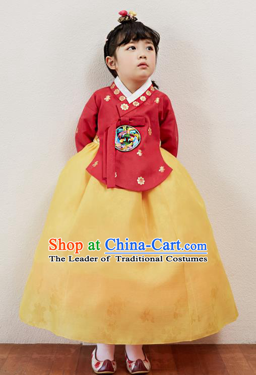 Korean National Handmade Formal Occasions Girls Clothing Palace Hanbok Costume Embroidered Red Blouse and Yellow Dress for Kids