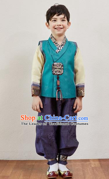 Asian Korean National Traditional Handmade Formal Occasions Boys Embroidery Peacock Blue Vest Hanbok Costume Complete Set for Kids