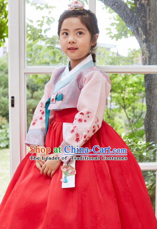 Traditional Korean National Handmade Formal Occasions Girls Clothing Palace Hanbok Costume Embroidered Purple Blouse and Red Dress for Kids