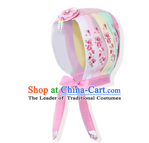 Korean National Bride Hair Accessories Embroidered Pink Hats, Asian Korean Hanbok Palace Headwear for Kids