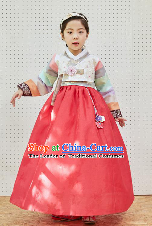 Traditional Korean National Handmade Formal Occasions Girls Clothing Palace Hanbok Costume Embroidered White Blouse and Red Dress for Kids