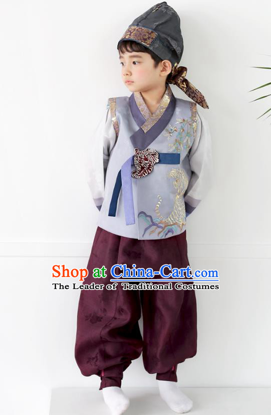 Asian Korean National Traditional Handmade Formal Occasions Boys Embroidery Grey Blue Vest Hanbok Costume Complete Set for Kids