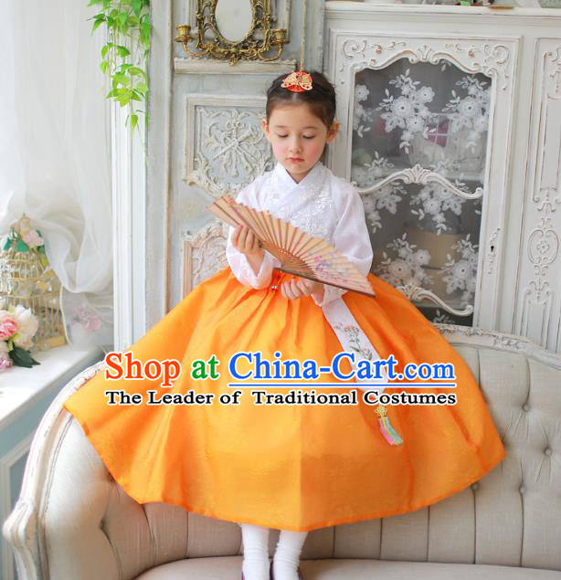 Traditional Korean National Handmade Formal Occasions Girls Clothing Palace Hanbok Costume Embroidered White Blouse and Yellow Dress for Kids