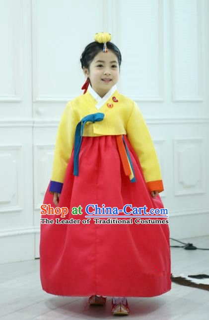 Traditional Korean National Handmade Formal Occasions Girls Clothing Palace Hanbok Costume Embroidered Yellow Blouse and Red Dress for Kids