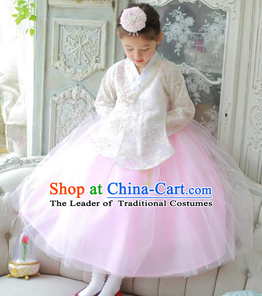 Traditional Korean National Handmade Formal Occasions Girls Clothing Palace Hanbok Costume Embroidered White Lace Blouse and Pink Dress for Kids
