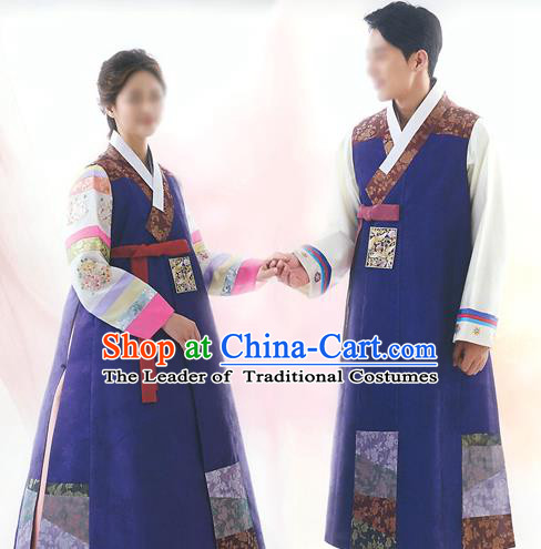 Top Grade Korean National Handmade Wedding Palace Bride and Bridegroom Hanbok Embroidered Costume Complete Set
