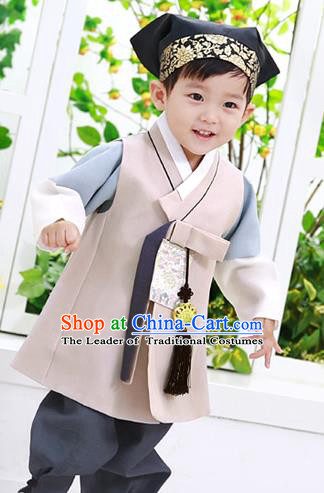 Asian Korean National Traditional Handmade Formal Occasions Boys Embroidery Beige Vest Hanbok Costume Complete Set for Kids