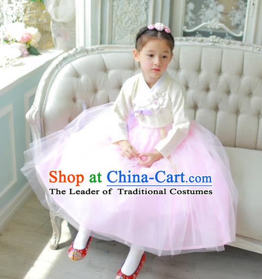 Traditional Korean National Handmade Formal Occasions Girls Clothing Palace Hanbok Costume Embroidered White Blouse and Pink Veil Dress for Kids
