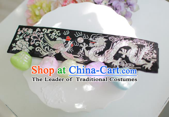 Traditional Korean Accessories Embroidered Dragon and Phoenix Black Waist Belts, Asian Korean Fashion Waistband Decorations for Kids