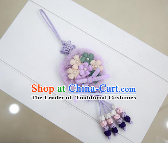 Asian Korean Hanbok Purple Flowers Tassel Waist Decorations, Korean National Belts Accessories Wedding Bride Waist Pendant for Women