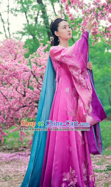 Traditional Chinese Southern and Northern Dynasties Imperial Concubine Costume, Chinese Ancient Palace Lady Embroidered Clothing for Women