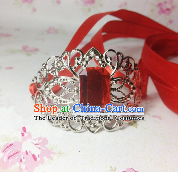 Traditional Handmade Chinese Ancient Classical Hair Accessories Royal Highness Red Crystal Tuinga Hairdo Crown for Men