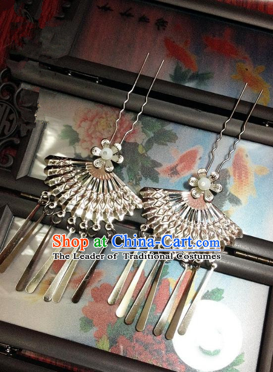 Traditional Chinese Ancient Classical Hair Accessories Tassel Hair Clip Bride Step Shake Hairpins for Women