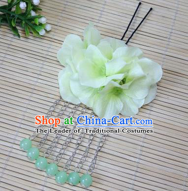 Traditional Chinese Ancient Classical Hair Accessories Green Flowers Beads Tassel Step Shake Bride Hairpins for Women