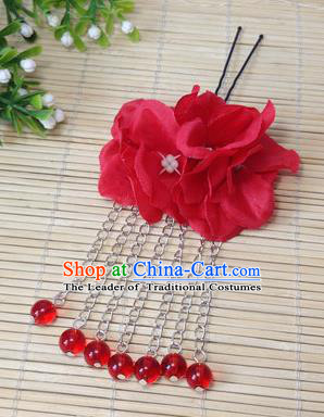 Traditional Chinese Ancient Classical Hair Accessories Red Flowers Beads Tassel Step Shake Bride Hairpins for Women