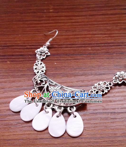Traditional Chinese Ancient Classical Hair Accessories White Tassel Eyebrows Pendant Hair Clasp Step Shake Bride Hairpins for Women