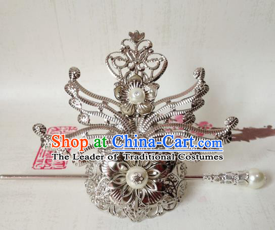 Traditional Handmade Chinese Classical Hair Accessories, Ancient Royal Highness Tuinga Hairdo Crown for Men