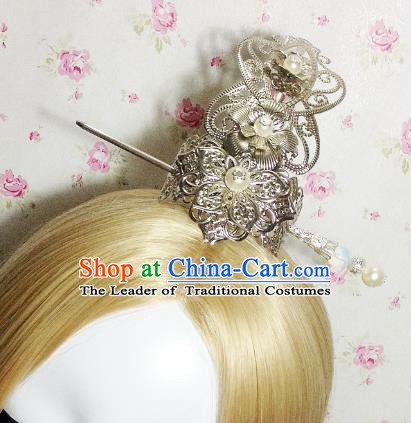 Traditional Handmade Chinese Classical Hair Accessories, Ancient Royal Highness White Tuinga Hairdo Crown for Men