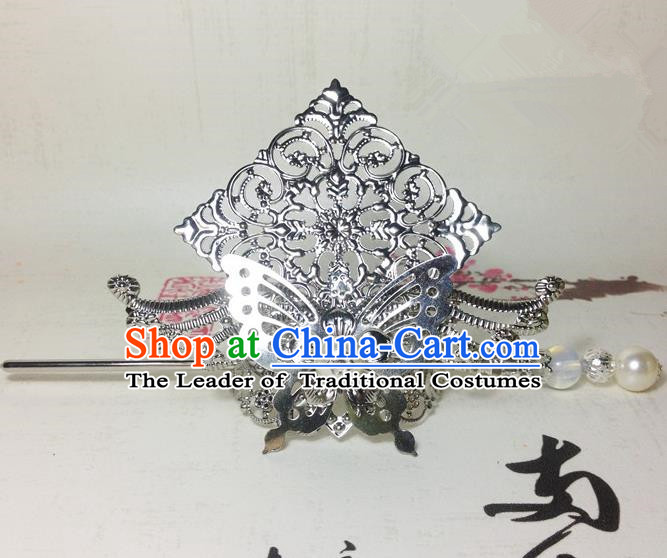 Traditional Handmade Chinese Classical Hair Accessories, Ancient Royal Highness White Butterfly Tuinga Hairdo Crown for Men