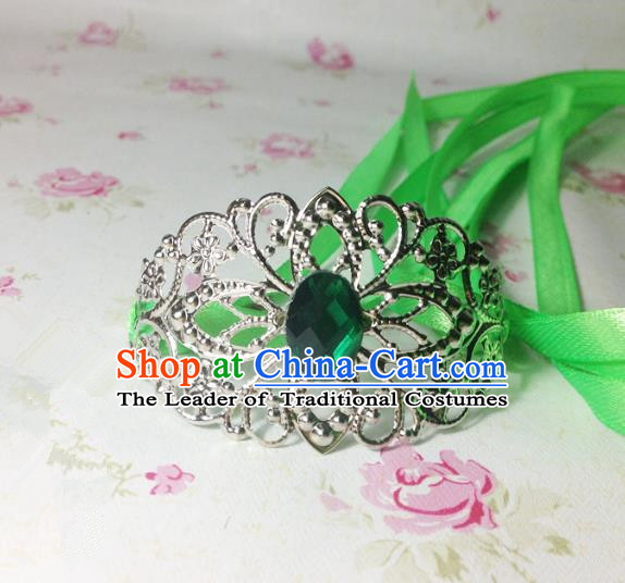 Traditional Handmade Chinese Classical Hair Accessories, Ancient Royal Highness Green Crystal Ribbon Headband Tuinga Hairdo Crown for Men