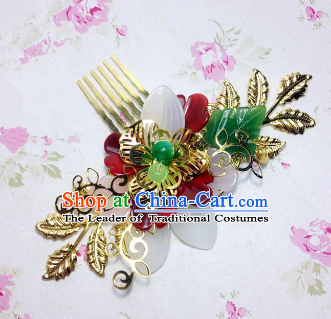 Traditional Chinese Ancient Classical Hair Accessories Hanfu Xiuhe Suit Hair Comb Bride Hairpins for Women