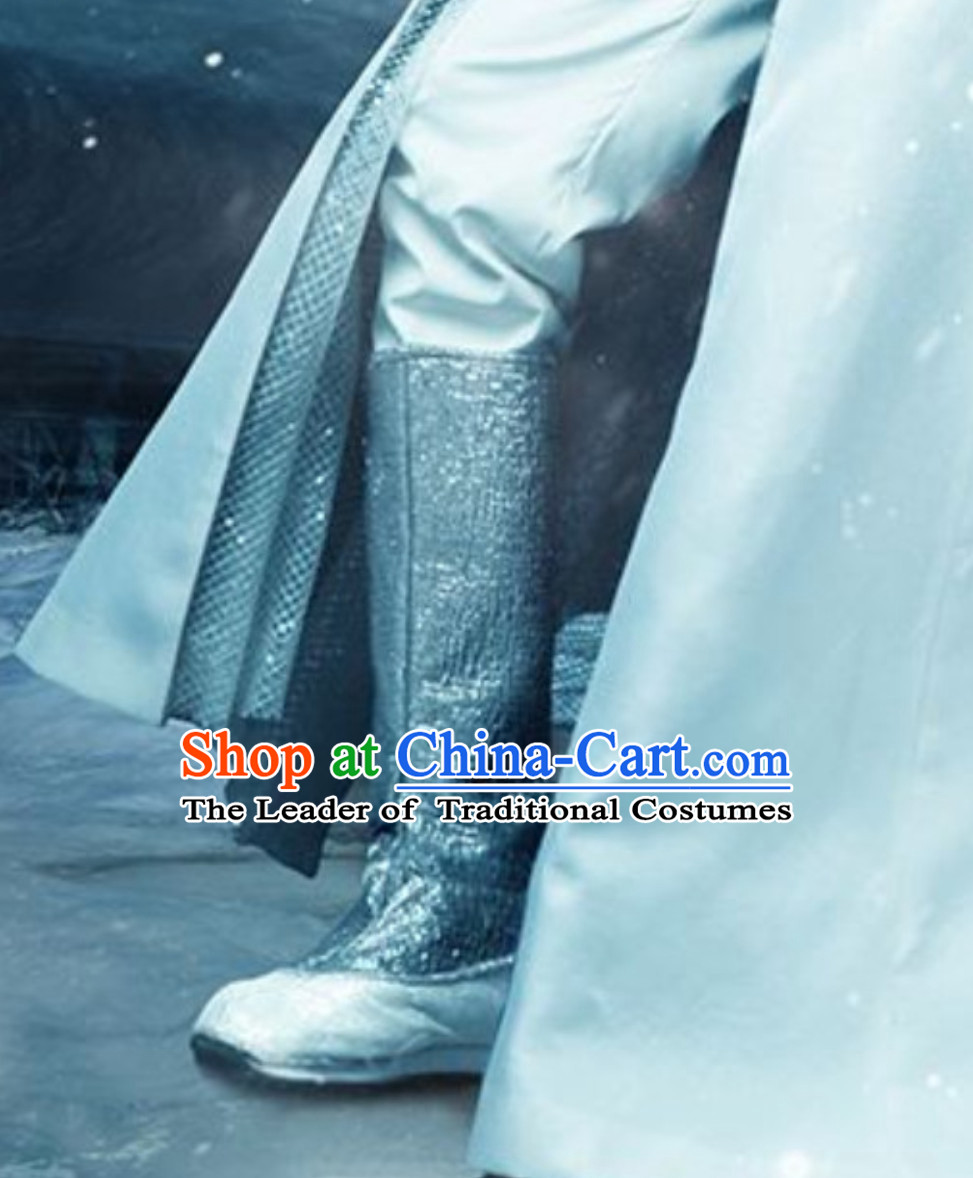 Handmade Ice Fantasy Matching Prince Silver Boots for Men