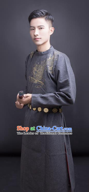 Asian China Tang Dynasty Swordsman Costume Grey Robe, Traditional Ancient Chinese Imperial Bodyguard Embroidered Clothing for Men