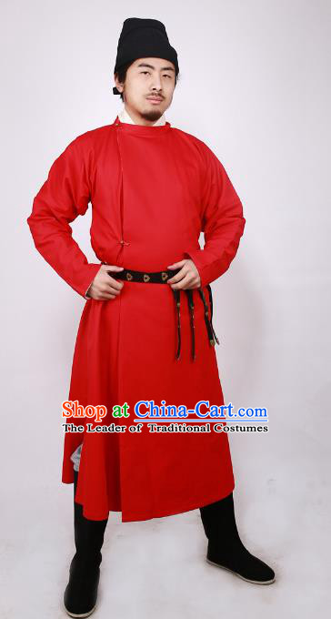 Asian China Tang Dynasty Swordsman Costume Red Robe, Traditional Ancient Chinese Imperial Bodyguard Clothing for Men