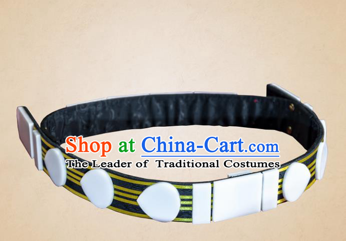 Asian Chinese Ming Dynasty Leather Belts, Traditional China Handmade Hanfu Officer Waistband for Men