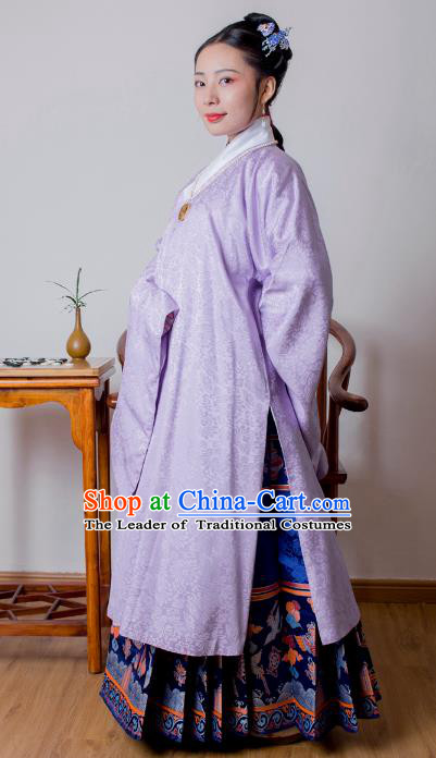 Asian China Ming Dynasty Princess Costume Purple Robe, Traditional Ancient Chinese Palace Lady Embroidered Hanfu Clothing for Women