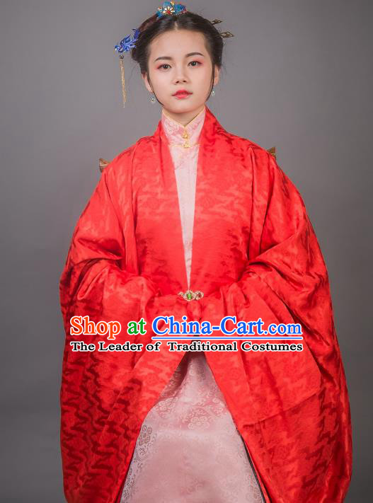 Asian China Ming Dynasty Princess Costume Red Cloak, Traditional Ancient Chinese Palace Lady Embroidered Hanfu Cape Clothing for Women